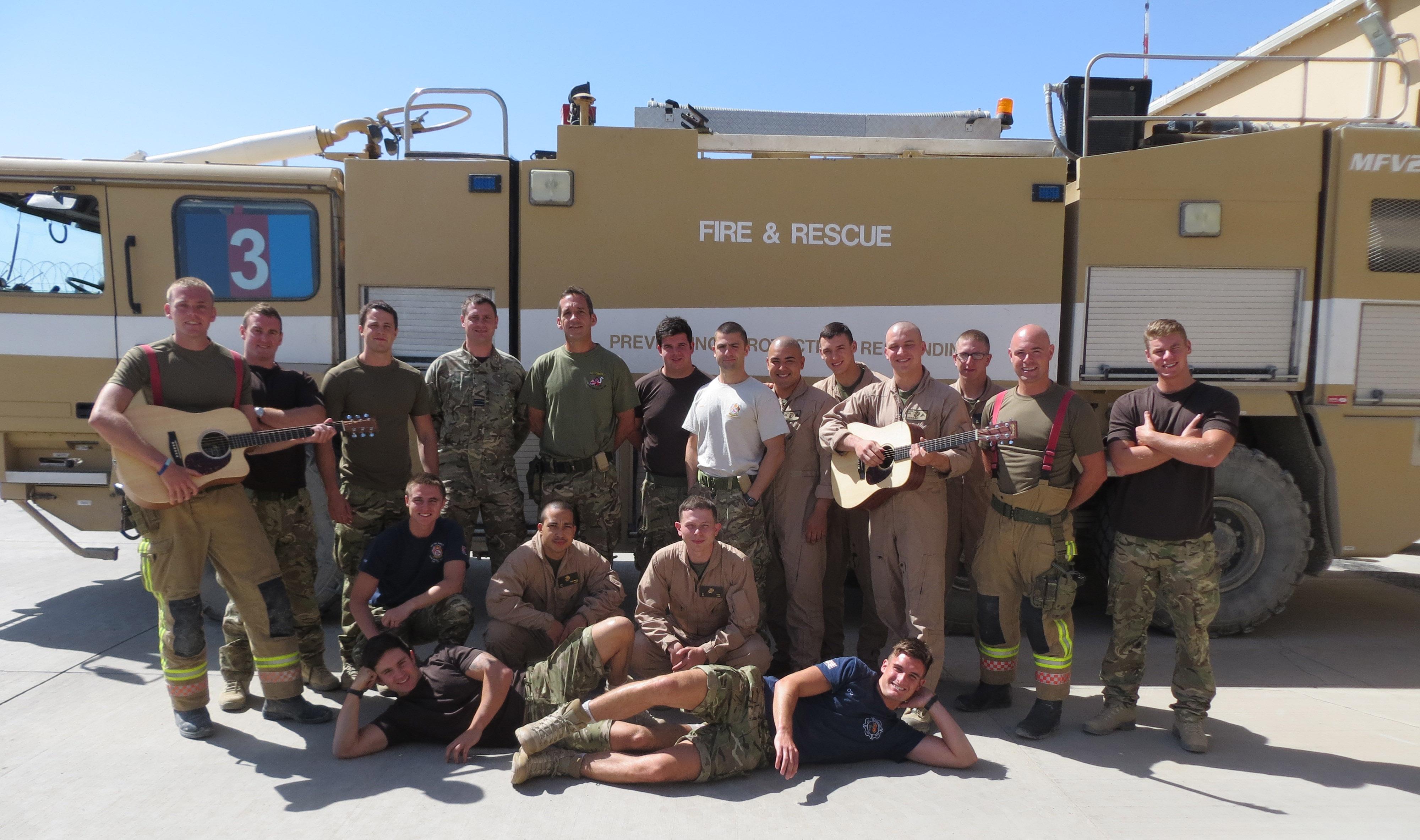 RAF Crew with guitars